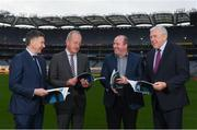 10 December 2019; In-Coming GAA Director of Games Development Shane Flanagan, left, with, from left to right, Committee Chair Michael Dempsey, Committee Member Brian Cuthbert and Ulster Director of Coaching and Games Development Dr Eugene Young at the Launch of GAA Talent Academy and Player Development report at Croke Park in Dublin. Photo by Harry Murphy/Sportsfile