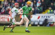 1 December 2019; Gerard Coady of St Mullin's in action against Adrian Mullen of Ballyhale Shamrocks during the AIB Leinster GAA Hurling Senior Club Championship Final match between Ballyhale Shamrocks and St Mullin's at O'Moore Park in Portlaoise, Laois. Photo by Piaras Ó Mídheach/Sportsfile