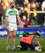 1 December 2019; Michael Fennelly of Ballyhale Shamrocks reacts before being shown a second yellow card, for a foul on Martin Kavanagh of Mullin's, below, and subsequent red card by referee Seán Stack during the AIB Leinster GAA Hurling Senior Club Championship Final match between Ballyhale Shamrocks and St Mullin's at O'Moore Park in Portlaoise, Laois. Photo by Piaras Ó Mídheach/Sportsfile