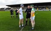 30 November 2019; Referee David Hughes with team captains Jack Sheridan of Kildare and Damien Egan of Offaly before the Kehoe Cup Round 1 match between Offaly and Kildare at St Brendan's Park in Birr, Co Offaly. Photo by Piaras Ó Mídheach/Sportsfile