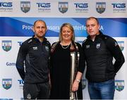 11 December 2019; TQS Integration announced their sponsorship of Waterford GAA for 2020 at TQS Integration Systems in Lismore, Waterford. In attendance is Maire Quilty, Corporate Managing Director of TQS, with Waterford football team manager Benji Whelan, left, and Waterford hurling team manager Liam Cahill.  Photo by Matt Browne/Sportsfile
