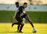 11 December 2019; Robert Lyons of FAI-ETB Cabra in action against Jamal Ibraham of FAI-ETB Dundalk during the Bobby Smith Cup Round 2 game between FAI-ETB Cabra and FAI-ETB Dundalk at FAI National Training Centre in Dublin. Photo by Eóin Noonan/Sportsfile