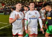 7 December 2019; John Cooney and Billy Burns of Ulster after the Heineken Champions Cup Pool 3 Round 3 match between Ulster and Harlequins at Kingspan Stadium in Belfast. Photo by Oliver McVeigh/Sportsfile