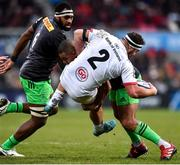 7 December 2019; Rob Herring of Ulster is tackled by Kyle Sinckler of Harlequins during the Heineken Champions Cup Pool 3 Round 3 match between Ulster and Harlequins at Kingspan Stadium in Belfast. Photo by Oliver McVeigh/Sportsfile