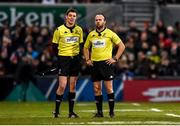 7 December 2019; Referee Mike Adamson, right, and Assistant Referee Keith Allan during the Heineken Champions Cup Pool 3 Round 3 match between Ulster and Harlequins at Kingspan Stadium in Belfast. Photo by Oliver McVeigh/Sportsfile
