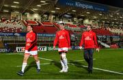 22 November 2019; Jordi Murphy, Marcell Coetzee and Sean Reidy of Ulster before the Heineken Champions Cup Pool 3 Round 2 match between Ulster and ASM Clermont Auvergne at Kingspan Stadium in Belfast. Photo by Oliver McVeigh/Sportsfile