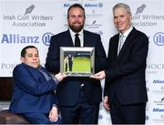 12 December 2019; Shane Lowry is presented with the Professional Player of the Year award for 2019 by Paul Kelly, Chairman of the Irish Golf Writer's Association, left, and Peter Kilcullen from Allianz during the 2019 Allianz Irish Golf Writers Association Awards at Portmarnock Hotel and Golf Links in Dublin. Photo by Matt Browne/Sportsfile