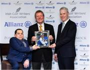 12 December 2019; Des Smyth is presented with the award for Distinguished Services to Golf by Paul Kelly, Chairman of the Irish Golf Writer's Association, left, and Peter Kilcullen from Allianz during the 2019 Allianz Irish Golf Writers Association Awards at Portmarnock Hotel and Golf Links in Dublin. Photo by Matt Browne/Sportsfile