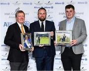 12 December 2019; Shane Lowry with the Professional Player of the Year award for 2019 award with Des Smyth with the award for Distinguished Services to Golf and James Sugrue with the Men's Amateur of the Year Award for 2019 during the 2019 Allianz Irish Golf Writers Association Awards at Portmarnock Hotel and Golf Links in Dublin. Photo by Matt Browne/Sportsfile