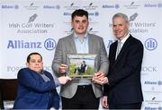 12 December 2019; James Sugrue is Presented with the Men's Amateur of the Year Award for 2019 by Paul Kelly, Chairman of the Irish Golf Writer's Association, left, and Peter Kilcullen from Allianz during the 2019 Allianz Irish Golf Writers Association Awards at Portmarnock Hotel and Golf Links in Dublin. Photo by Matt Browne/Sportsfile