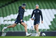 13 December 2019; Ross Byrne, left, and Ciaran Frawley during a Leinster Rugby Captain's Run at the Aviva Stadium in Dublin. Photo by Ramsey Cardy/Sportsfile