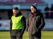 1 December 2019; Kilcoo Manager Mickey Moran, right, along with Paul Devlin selector before the AIB Ulster GAA Football Senior Club Championship Final match between Kilcoo and Naomh Conaill at Healy Park in Omagh, Tyrone. Photo by Oliver McVeigh/Sportsfile