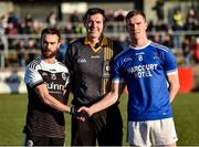 1 December 2019; Referee Sean Hurson along with Kilcoo Captain Conor Lavery and Naomh Conaill Captain Ciaran Thompson before the AIB Ulster GAA Football Senior Club Championship Final match between Kilcoo and Naomh Conaill at Healy Park in Omagh, Tyrone. Photo by Oliver McVeigh/Sportsfile