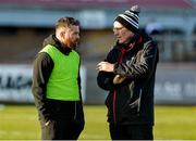 1 December 2019; Kilcoo manager Mickey Moran, right, and selector Paul Devlin prior to the AIB Ulster GAA Football Senior Club Championship Final match between Kilcoo and Naomh Conaill at Healy Park in Omagh, Tyrone. Photo by Oliver McVeigh/Sportsfile