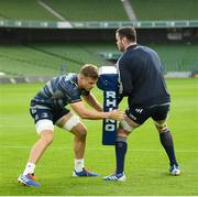 13 December 2019; Josh van der Flier, left, and James Ryan during the Leinster Rugby captain's run at the Aviva Stadium in Dublin. Photo by Ramsey Cardy/Sportsfile