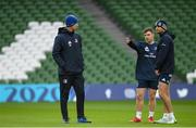 13 December 2019; Head coach Leo Cullen, left, in conversation with Luke McGrath, centre, and Ross Byrne during the Leinster Rugby captain's run at the Aviva Stadium in Dublin. Photo by Ramsey Cardy/Sportsfile