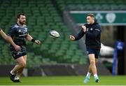 13 December 2019; Jordan Larmour, right, and Cian Healy during the Leinster Rugby captain's run at the Aviva Stadium in Dublin. Photo by Ramsey Cardy/Sportsfile