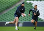 13 December 2019; Ross Byrne, left, and Jamison Gibson-Park during the Leinster Rugby captain's run at the Aviva Stadium in Dublin. Photo by Ramsey Cardy/Sportsfile