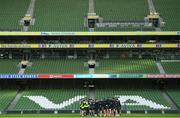 13 December 2019; The squad huddle during the Leinster Rugby captain's run at the Aviva Stadium in Dublin. Photo by Ramsey Cardy/Sportsfile