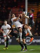 13 December 2019; Cadan Murley of Harlequins and Louis Ludik of Ulster contest a high ball during the Heineken Champions Cup Pool 3 Round 4 match between Harlequins and Ulster at Twickenham Stoop in London, England. Photo by Seb Daly/Sportsfile
