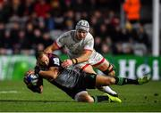 13 December 2019; Ross Chisholm of Harlequins is tackled by Luke Marshall of Ulster during the Heineken Champions Cup Pool 3 Round 4 match between Harlequins and Ulster at Twickenham Stoop in London, England. Photo by Seb Daly/Sportsfile