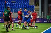 13 December 2019; Dan Sheehan of Leinster A, left, is congratulated by team-mate Ronan Watters after scoring his side's first try during the Interprovincial match between Leinster A and Munster A at Energia Park in Donnybrook, Dublin. Photo by Matt Browne/Sportsfile