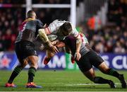 13 December 2019; Stuart McCloskey of Ulster is tackled by Kyle Sinckler, left, and Santiago Garcia Botta of Harlequins during the Heineken Champions Cup Pool 3 Round 4 match between Harlequins and Ulster at Twickenham Stoop in London, England. Photo by Seb Daly/Sportsfile