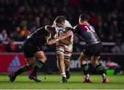 13 December 2019; Sean Reidy of Ulster is tackled by Santiago Garcia Botta, left, and Brett Herron of Harlequins during the Heineken Champions Cup Pool 3 Round 4 match between Harlequins and Ulster at Twickenham Stoop in London, England. Photo by Seb Daly/Sportsfile