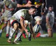13 December 2019; John Cooney of Ulster gathers the ball on his way to scoring his side's third try during the Heineken Champions Cup Pool 3 Round 4 match between Harlequins and Ulster at Twickenham Stoop in London, England. Photo by Seb Daly/Sportsfile