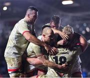 13 December 2019; Tom O'Toole of Ulster, 18, is congratulated by team-mate after scoring his side's fifth try during the Heineken Champions Cup Pool 3 Round 4 match between Harlequins and Ulster at Twickenham Stoop in London, England. Photo by Seb Daly/Sportsfile