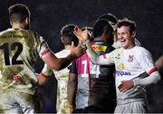 13 December 2019; Billy Burns, right, and Stuart McCloskey of Ulster congratulate each other following their side's second try during the Heineken Champions Cup Pool 3 Round 4 match between Harlequins and Ulster at Twickenham Stoop in London, England. Photo by Seb Daly/Sportsfile