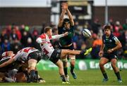 14 December 2019; Callum Braley of Gloucester kicks under pressure from Eoghan Masterson of Connacht during the Heineken Champions Cup Pool 5 Round 4 match between Connacht and Gloucester at The Sportsground in Galway. Photo by Harry Murphy/Sportsfile