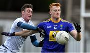 14 December 2019; Chris O'Brien of Wicklow in action against Eoghan Bateman of Kildare during the 2020 O'Byrne Cup Round 2 match between Wicklow and Kildare at Joule Park in Aughrim, Wicklow. Photo by Piaras Ó Mídheach/Sportsfile