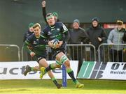 14 December 2019; Robin Copeland of Connacht on his way to scoring his side's third try during the Heineken Champions Cup Pool 5 Round 4 match between Connacht and Gloucester at The Sportsground in Galway. Photo by Harry Murphy/Sportsfile
