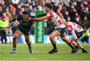 14 December 2019; Bundee Aki of Connacht is tackled by  Gerbrandt Grobler of Gloucester during the Heineken Champions Cup Pool 5 Round 4 match between Connacht and Gloucester at The Sportsground in Galway. Photo by Harry Murphy/Sportsfile