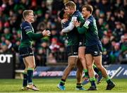 14 December 2019; Connacht players including Bundee Aki and Conor Fitzgerald, centre, celebrate following the Heineken Champions Cup Pool 5 Round 4 match between Connacht and Gloucester at The Sportsground in Galway. Photo by Harry Murphy/Sportsfile