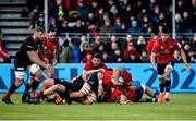 14 December 2019; Tadhg Beirne of Munster is tackled by Vincent Koch of Saracens resulting in an injury to Tadhg Beirne during the Heineken Champions Cup Pool 4 Round 4 match between Saracens and Munster at Allianz Park in Barnet, England. Photo by Seb Daly/Sportsfile