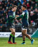 14 December 2019; Jack Carty, left, and  Bundee Aki of Connacht embrace following the Heineken Champions Cup Pool 5 Round 4 match between Connacht and Gloucester at The Sportsground in Galway. Photo by Harry Murphy/Sportsfile