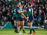 14 December 2019; Kyle Godwin, left, and Jack Carty of Connacht embrace following the Heineken Champions Cup Pool 5 Round 4 match between Connacht and Gloucester at The Sportsground in Galway. Photo by Harry Murphy/Sportsfile