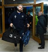 14 December 2019; Scott Fardy of Leinster arrives ahead of the Heineken Champions Cup Pool 1 Round 4 match between Leinster and Northampton Saints at the Aviva Stadium in Dublin. Photo by Ramsey Cardy/Sportsfile