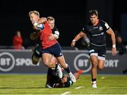 14 December 2019; Mike Haley of Munster is tackled by Nick Tompkins and Alex Lozowski of Saracens during the Heineken Champions Cup Pool 4 Round 4 match between Saracens and Munster at Allianz Park in Barnet, England. Photo by Seb Daly/Sportsfile