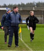 14 December 2019; Linesperson Pamela Hayden looks on alongside Wicklow manager Davy Burke, front, and selector Gary Jameson during the 2020 O'Byrne Cup Round 2 match between Wicklow and Kildare at Joule Park in Aughrim, Wicklow. Photo by Piaras Ó Mídheach/Sportsfile
