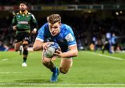 14 December 2019; Garry Ringrose of Leinster scores his side's first try during the Heineken Champions Cup Pool 1 Round 4 match between Leinster and Northampton Saints at the Aviva Stadium in Dublin. Photo by Sam Barnes/Sportsfile