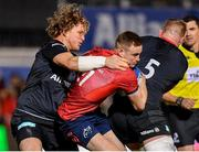 14 December 2019; Nick McCarthy of Munster is tackled by Tom Woolstencroft, left, and George Kruis of Saracens during the Heineken Champions Cup Pool 4 Round 4 match between Saracens and Munster at Allianz Park in Barnet, England. Photo by Seb Daly/Sportsfile