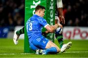 14 December 2019; Garry Ringrose of Leinster scores his and his side's second try during the Heineken Champions Cup Pool 1 Round 4 match between Leinster and Northampton Saints at the Aviva Stadium in Dublin. Photo by Ramsey Cardy/Sportsfile