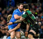 14 December 2019; Cian Healy of Leinster clashes heads with Lewis Bean of Northampton Saints during the Heineken Champions Cup Pool 1 Round 4 match between Leinster and Northampton Saints at the Aviva Stadium in Dublin. Photo by Ramsey Cardy/Sportsfile