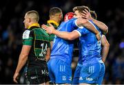14 December 2019; Garry Ringrose of Leinster celebrates with team-mates after scoring his side's second try during the Heineken Champions Cup Pool 1 Round 4 match between Leinster and Northampton Saints at the Aviva Stadium in Dublin. Photo by Ramsey Cardy/Sportsfile