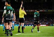 14 December 2019; Ahsee Tuala of Northampton Saints leaves the field after being shown a yellow card by referee Daniel Jones during the Heineken Champions Cup Pool 1 Round 4 match between Leinster and Northampton Saints at the Aviva Stadium in Dublin Photo by Sam Barnes/Sportsfile