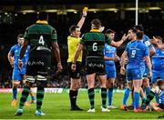 14 December 2019; Referee Daniel Jones shows Tom Wood of Northampton Saints a yellow card during the Heineken Champions Cup Pool 1 Round 4 match between Leinster and Northampton Saints at the Aviva Stadium in Dublin. Photo by Sam Barnes/Sportsfile