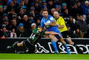 14 December 2019; Dave Kearney of Leinster evades the tackle of Ollie Sleightholme of Northampton Saints on his way to scoring his side's fourth try during the Heineken Champions Cup Pool 1 Round 4 match between Leinster and Northampton Saints at the Aviva Stadium in Dublin. Photo by Sam Barnes/Sportsfile